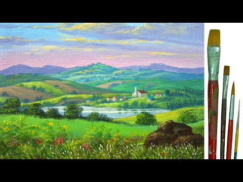 Acrylic Landscape Painting Tutorial Distant Village with Church, Houses, Lake, Mountains and Fields