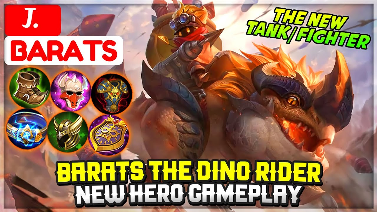 Barats The Dino RIder, New Hero Gameplay [ J.  Barats ] Mobile Legends