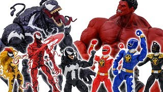 - Power Rangers Marvel Avengers Toys Pretend Play Red Hulk vs Venom Army Rescue Superhero