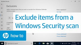 How to Exclude Items from a Windows Security Scan   HP Computers   HP