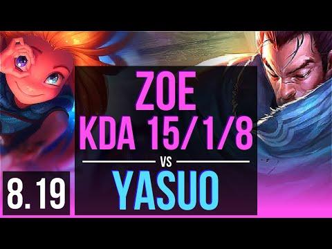 ZOE vs YASUO (MID) | KDA 15/1/8, Legendary | Korea Diamond | v8.19