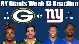 NY Giants Week 13 Reaction (8 L's in a Row)