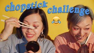 Chopsticks as Hands Makeup Challenge