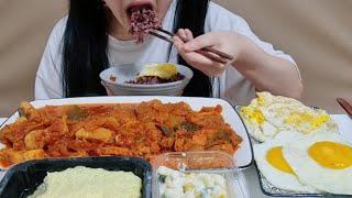 스팸돼지김치찜 흑미밥3공기 계란프라이5개 계란찜 마카로…