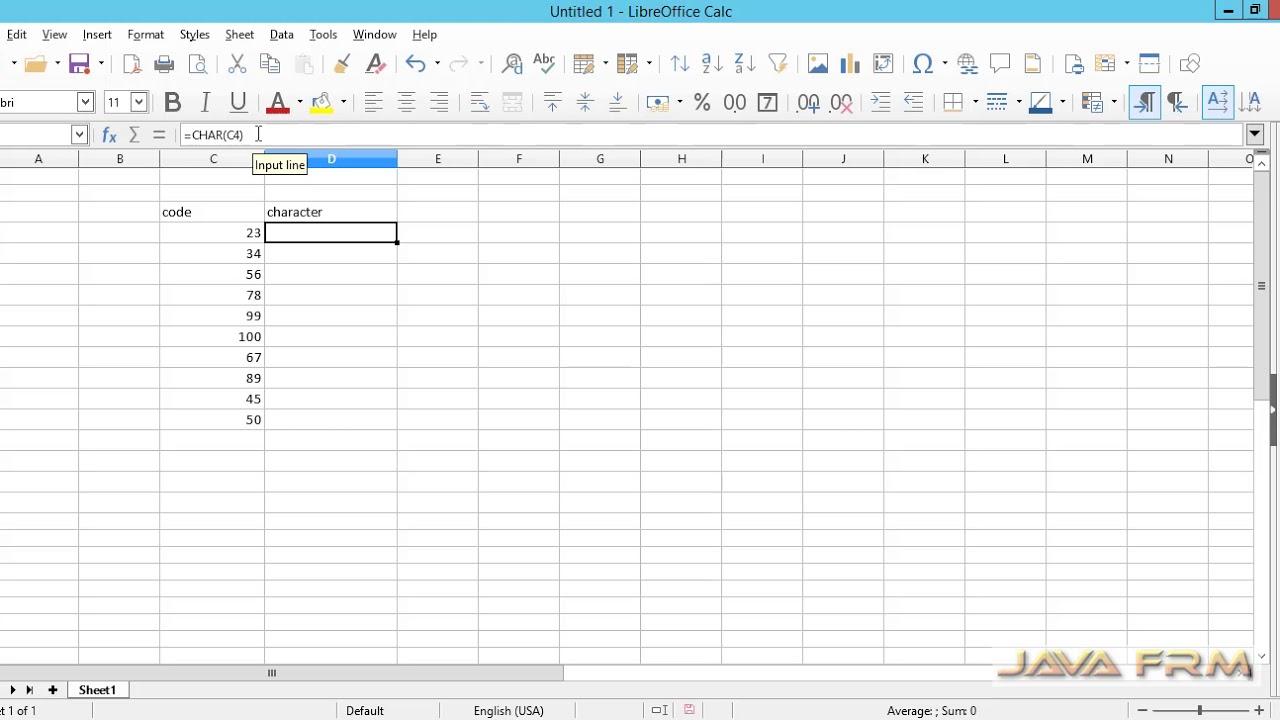 LibreOffice Calc Tutorial - char Function | LibreOffice 6 Calc