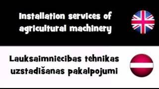 TRANSLATE IN 20 LANGUAGES = Installation services of agricultural machinery