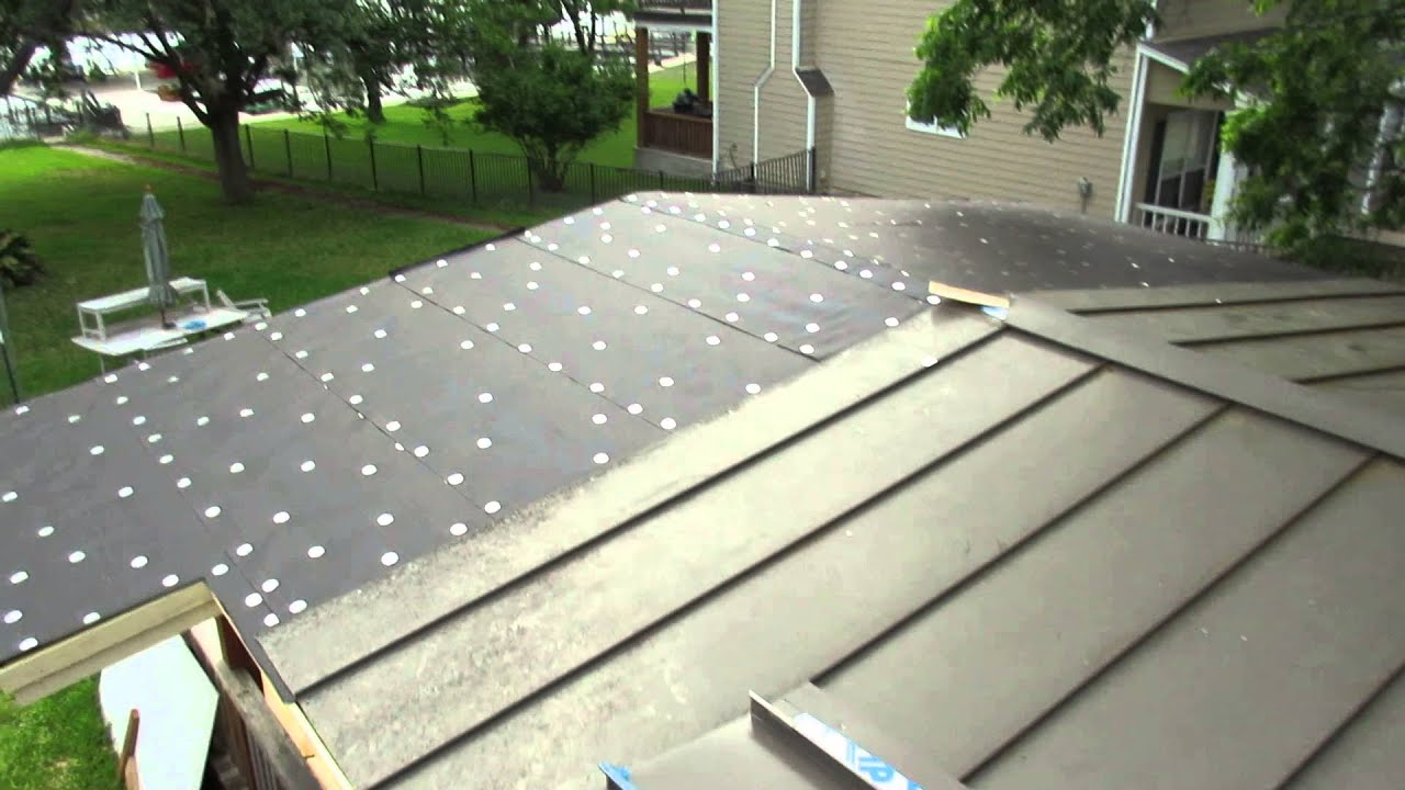 mvi 0115 metal roof installation on flat deck with 2standing seam youtube - Flat Metal Roof