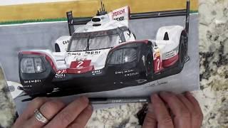 Porsche 919 LeMans winner in Time lapse drawing.