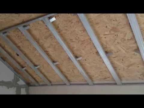 видео: Гипсокартонный потолок на мансарде, как сделать разметку. drywall ceiling.