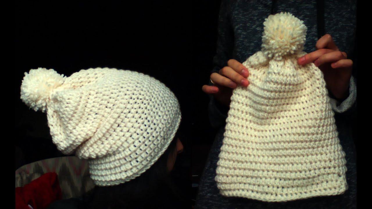460102634eb416 crochet white slouchy hat - YouTube