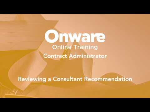 Contract Administrator - Review a Consultant Recommendation