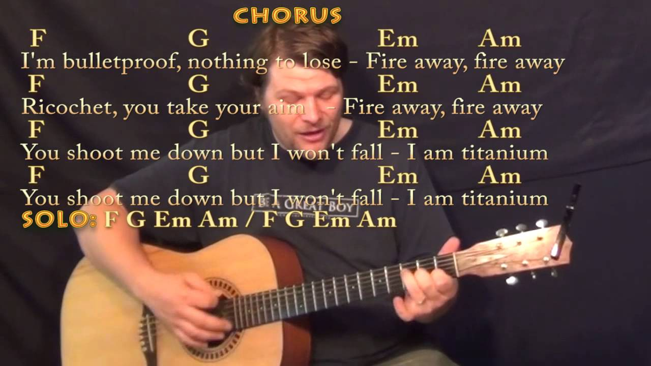 Titanium David Guetta Strum Guitar Cover Lesson in C with Chords/Lyrics