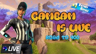 Fortnite live Playing with subs giveaway at 400 subs (USE CODE CAMBAM) ROAD TO 400