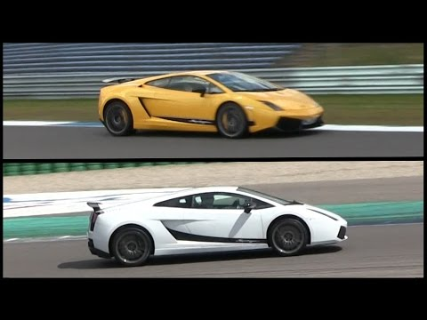 2x Lamborghini Gallardo Superleggera On The Track Old New Generation Loud Exhaust Sounds