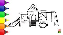 Cara Menggambar Dan Mewarnai Taman Bermain Untuk Anak Anak