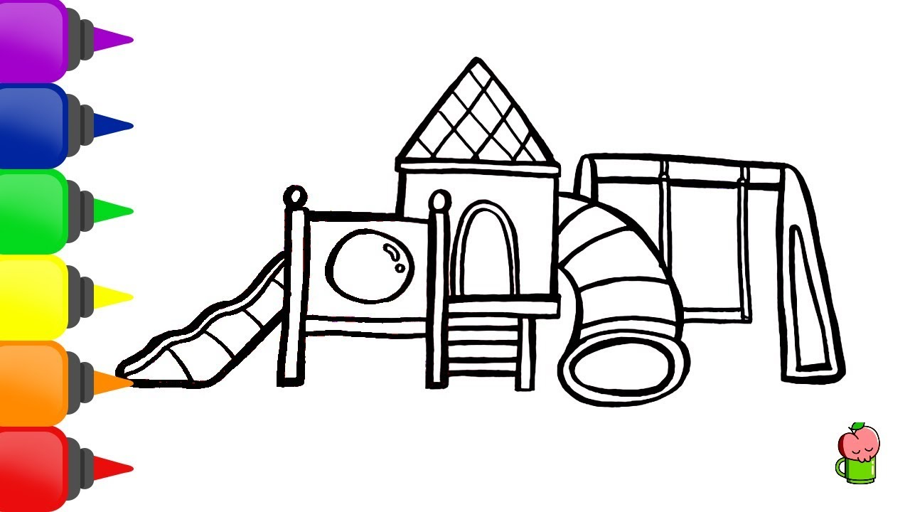 How To Draw And Color Children Playground