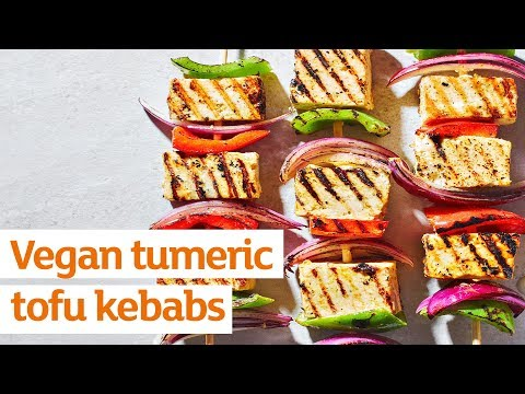 Vegan turmeric tofu kebabs