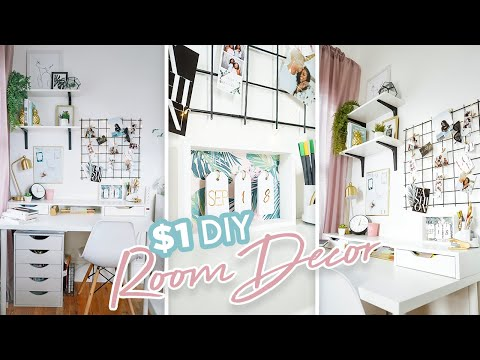 $1 DIY OFFICE DECOR + BEAUTY ROOM | EASY DOLLAR TREE DIY