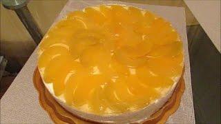 Творожный торт с фруктами (с персиками)