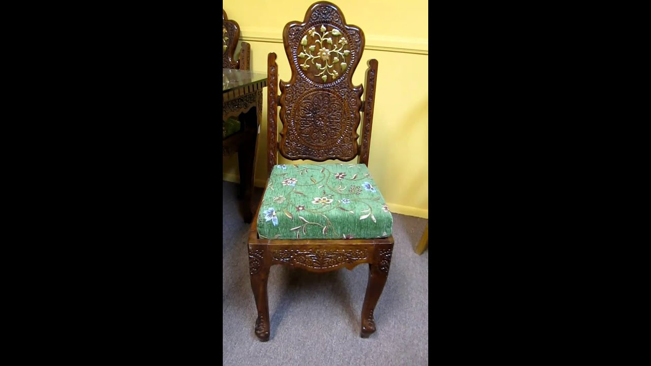 Dinning Table Chair Teak Wood Hand Carved Brass Inlay Made In India Mov