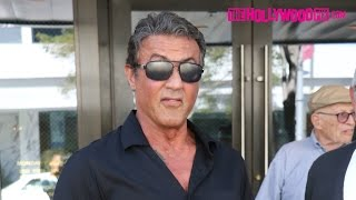 Sylvester Stallone Talks With Friends At The Palm Restaurant 9.28.15 - TheHollywoodFix.com