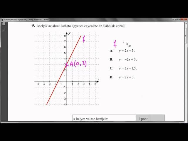 9. Feladat - Egyenes egyenlete