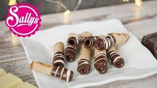 Knusprige Waffelröllchen / Zimtrollen / crunchy Cinnamon Rolls