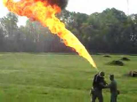 US Marine Corps Flamethrower Demonstration
