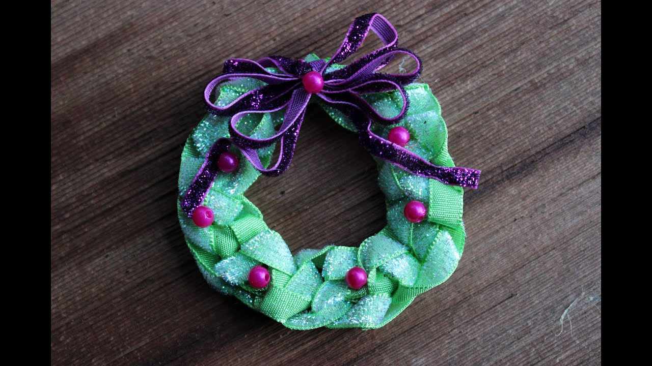 Christmas Ribbon Wreath Hairbow Jewelry Pin Or Tree