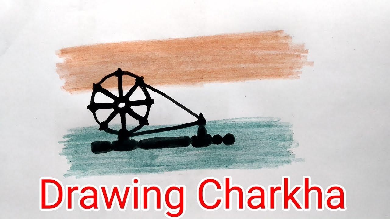 Easy Charkha Drawing - Gandhi Jayanti Special