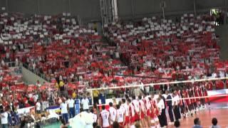 Hymn Polski na meczu Polska Kuba Liga Światowa Siatkówki 2010