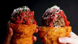 Meatball-Stuffed Onion Ring Cones