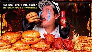 MCD 5X CHEESE BURGER & AYAM 3X SPICY PAKAI SAUCE SAMYANG 2X FIRE NUCLEAR ! | MUKBANG W/ ASMR