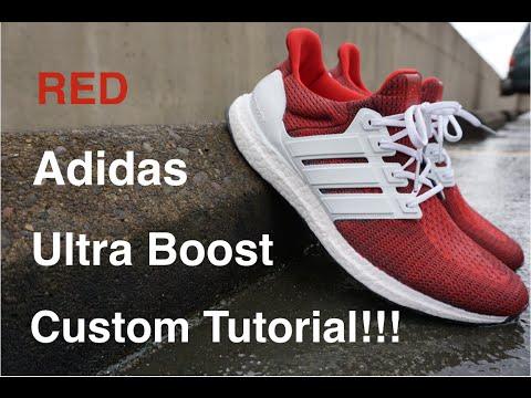 Red Adidas Ultra Boost Custom Tutorial + On Feet!!!
