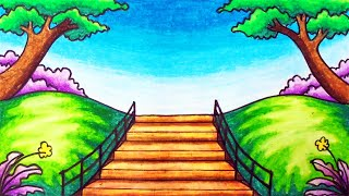 Easy Garden Scenery Drawing | How to Draw Scenery of Beautiful Park in the City