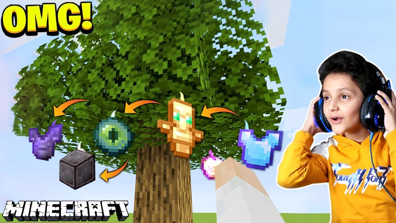 Download Beating Minecraft, But Trees Drop OP Items...
