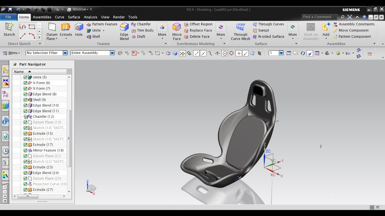 Nx Modeling Concept Design Nx 9 0 Car Seat Youtube
