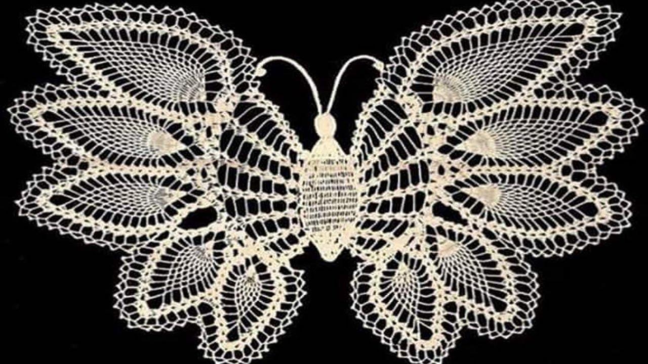 Mariposas Tejidas en crochet adornos Parte 1 - YouTube