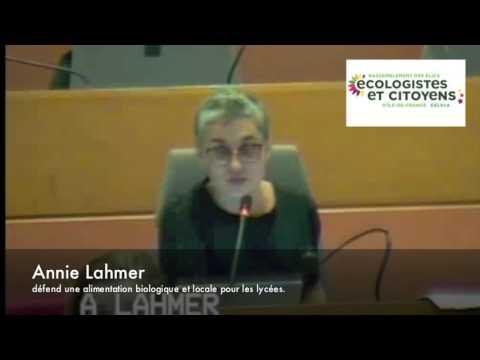 CR 09/03- Annie Lahmer défend l'alimentation biologique et locale dans les Lycées.