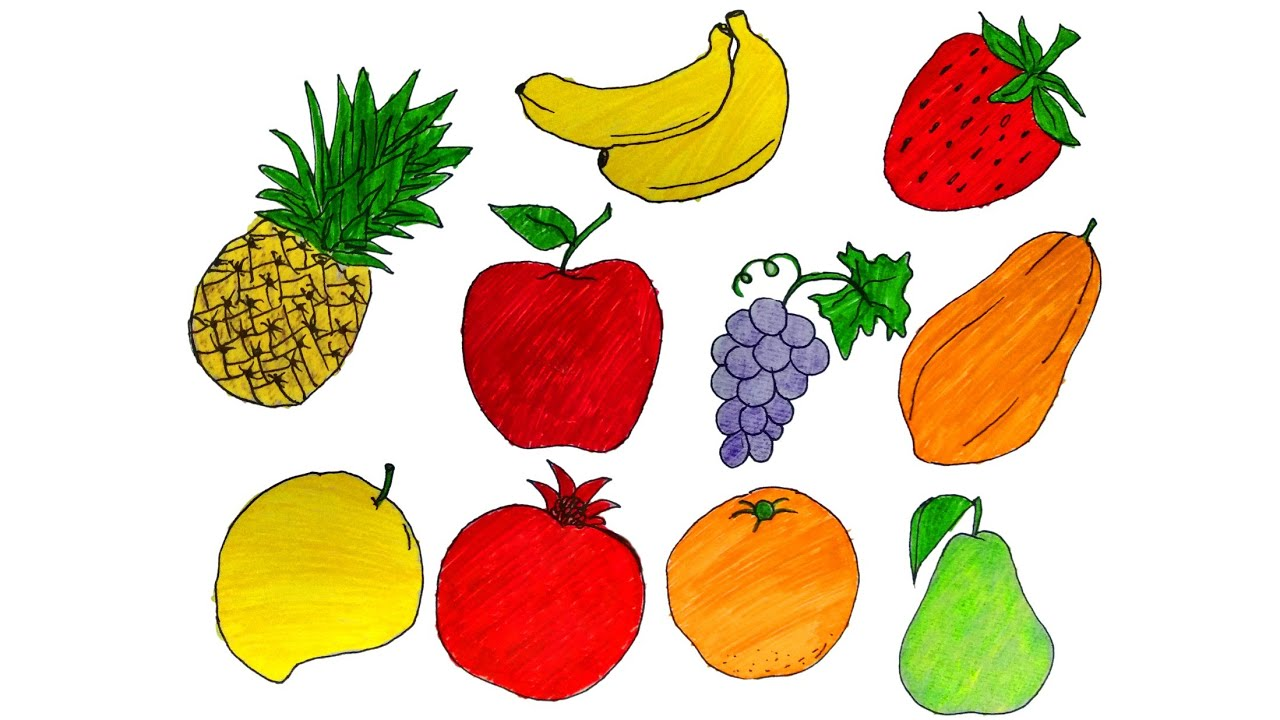 fruits drawing/how to draw fruits/easy drawing for kids ...