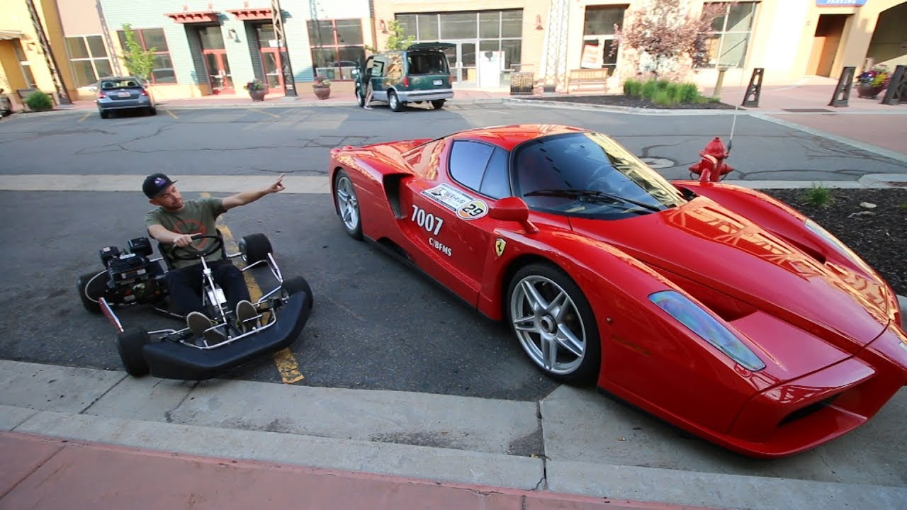 racing a ferrari enzo in a 212cc go-kart?? - youtube