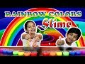 Rainbow colours slime making