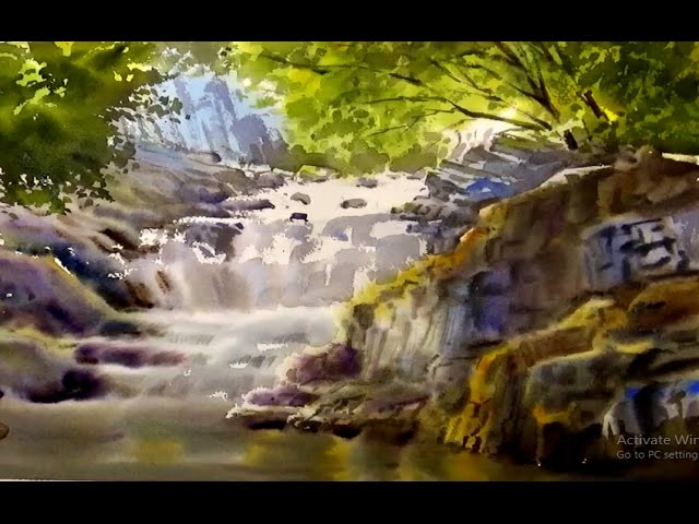 Watercolor painting a Waterfall with Wet-on-Wet techniques