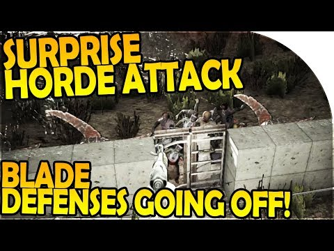 HORDE SURPRISE ATTACK?! - BLADE TRAP DEFENSES GOING OFF! - 7 Days to Die Alpha 16 Gameplay Part 50