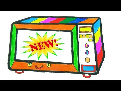 How To Draw Microwave Coloring Pages | Art Colours For Children | Kids Songs Learn Drawing