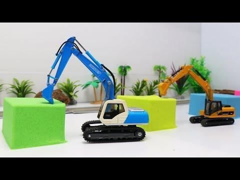 รถแม็คโครขุดหาของเล่นในทรายมหัศจรรย์ วีดีโอสำหรับเด็ก