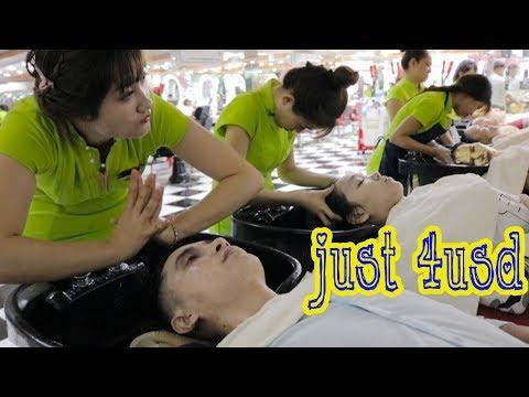 Vietnam Barbershop Massage Face & Wash Hair with Beautifull Girl