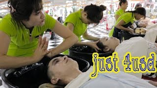 Vietnam Barbershop Massage Face & Wash Hair with Beautifull Girl