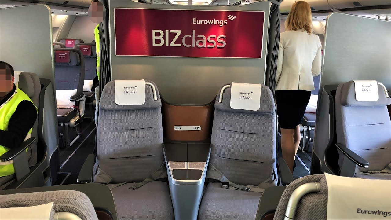 Airplane Flights Eurowings New Biz Class Airbus A340-300 Cabin Visit | New