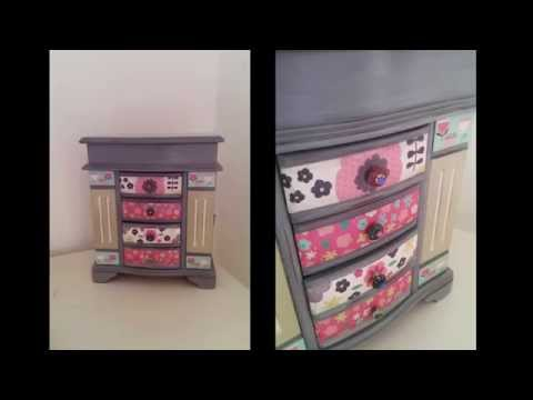 DIY vintage; step by step jewellery box redo